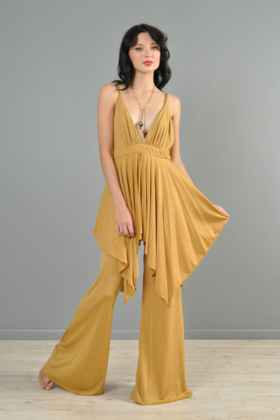 Goldenrod 1970s Plunging Draped Jumpsuit