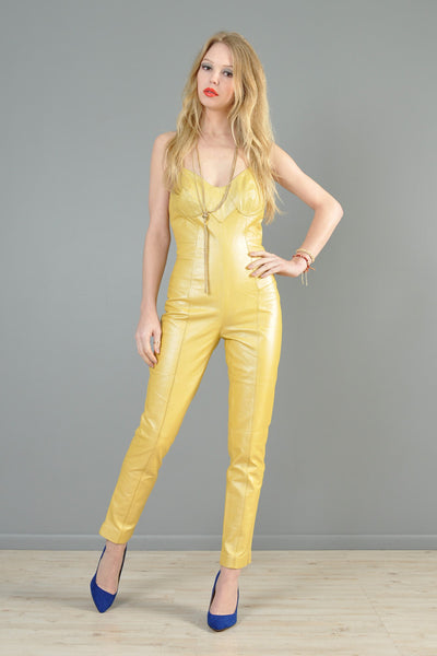 Backless Golden Leather Skinny Jumpsuit