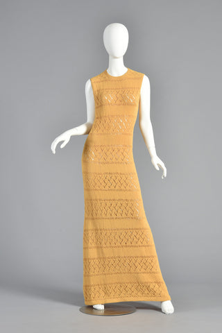 Goldenrod Knit Stripe 60s Maxi Dress