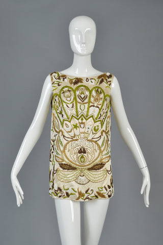 Art Nouveau Inspired 1960s Beaded Tunic Top