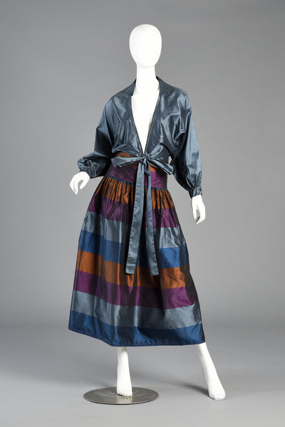 1970s Metallic Striped Silk Skirt + Blouse Dress Ensemble