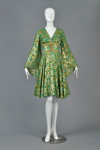 60s Fred Perlberg Metallic Silk Brocade Dress w/Angel Sleeves