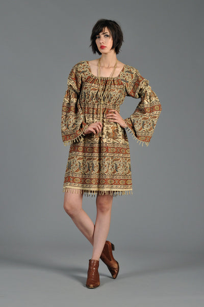 1970s Juliet Sleeved Ethnic Mini Dress with Empire Waist