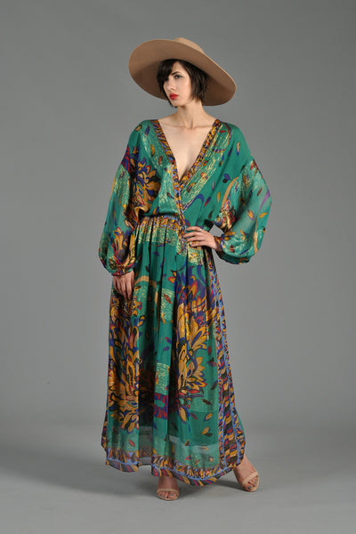 1970s Plunging Sheer Silk + Lurex Maxi Dress w/Graphic Florals