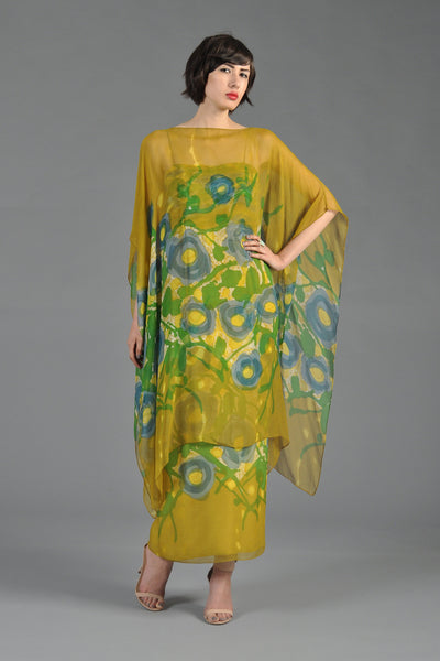1960s Hand Painted Silk Chiffon Dress + Caftan