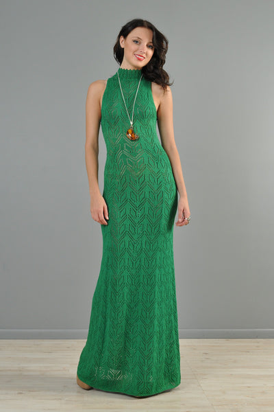 Emerald Green 1970s Graphic Knit Maxi Dress with Keyhole Back