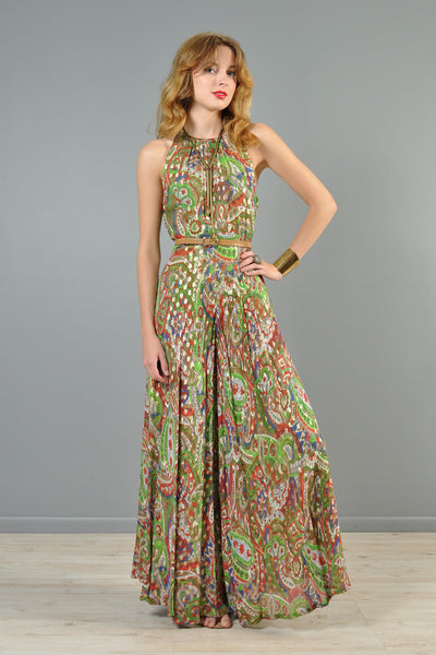 Metallic Paisley Indian Gauze Palazzo Jumpsuit