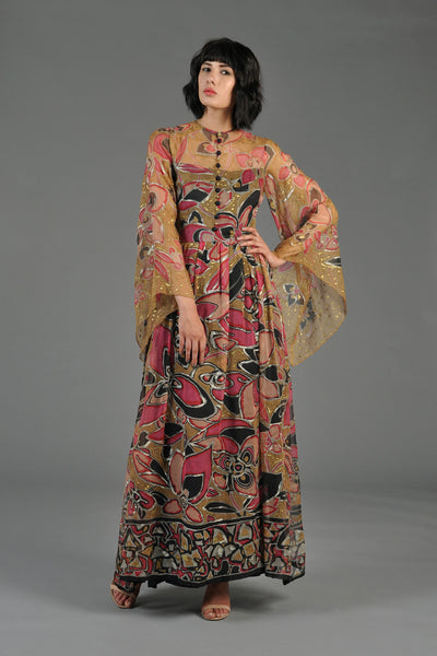 Hand Painted Silk Sheer Maxi Dress w/Angel Sleeves