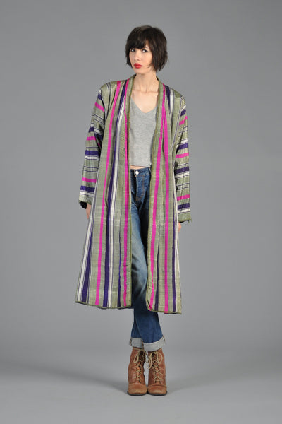1970s Silk Stripe Reversible Floral Maxi Jacket
