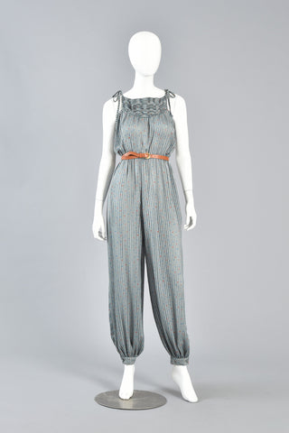 70s Sheer Striped Harem Jumpsuit w/ Micro Leaf Print
