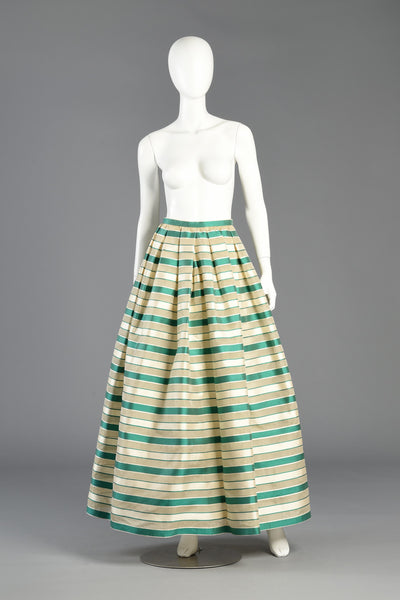 Gloria Stunning 1960s Saks 5th Ave Silk Organza Striped Maxi Skirt
