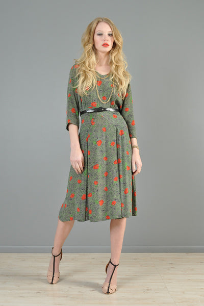 1940s Apple Tree Novelty Dress
