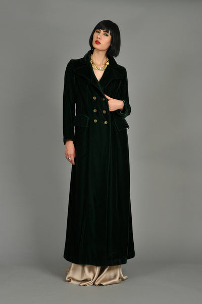 1970s Saks 5th Ave Evergreen Velvet Maxi Coat