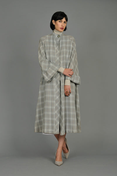 1940s Grey Plaid Swing Coat with Pagoda Sleeves