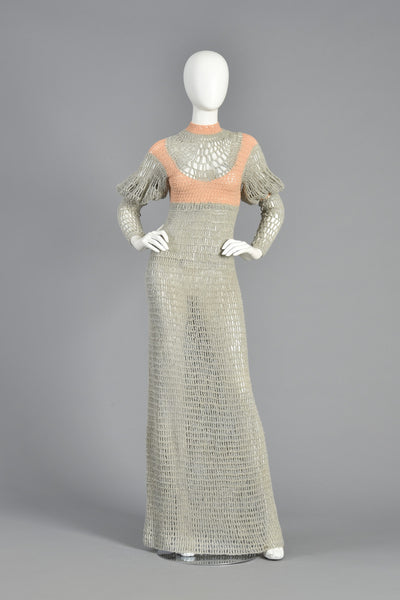 Hand Knit 70s Floor Length Maxi Dress w/Leg of Mutton Sleeves