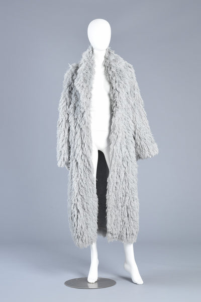 Pale Grey 1970s Shaggy Fur-Like Maxi String Coat