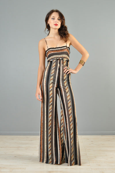 1970s Ethnic Striped Palazzo Jumpsuit