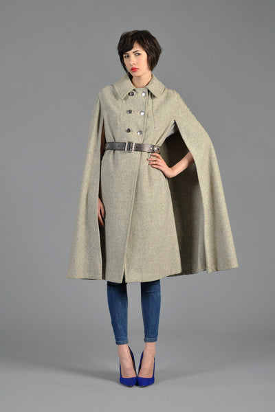 60s Heather Grey Military Cape