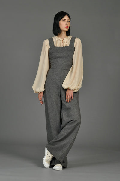 Grey 70s Wide-Legged Wool Overall Jumpsuit