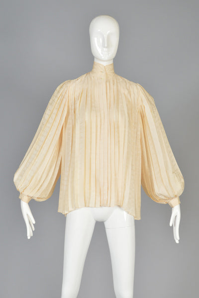 Gucci Pleated Silk Trapeze Blouse w/Blouson Sleeves