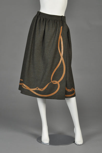 1970s Gucci Wool + Leather Riding Skirt