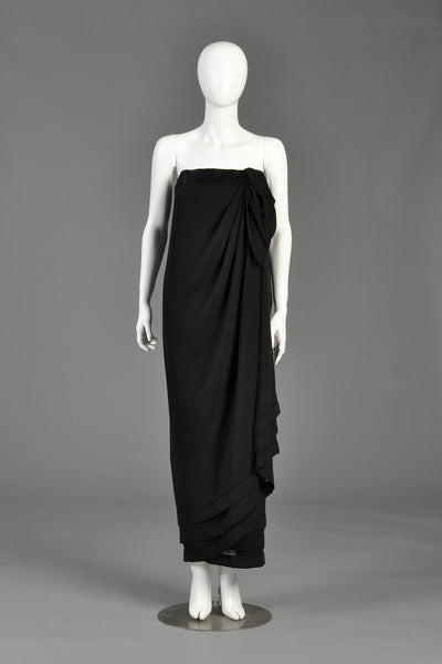 Late 1970s Guy Laroche Haute Couture Draped Gown