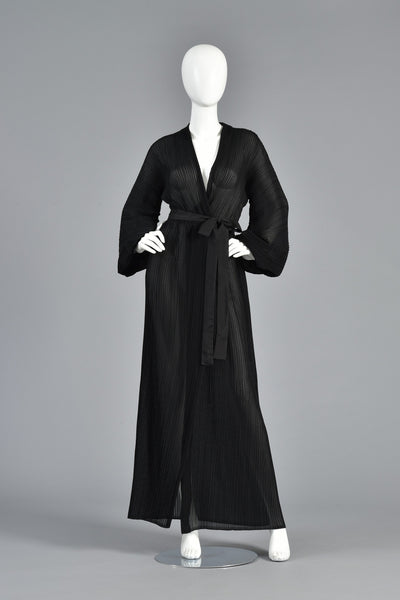 Sheer Grecian Pleated Halston Gown w/Blouson Sleeves