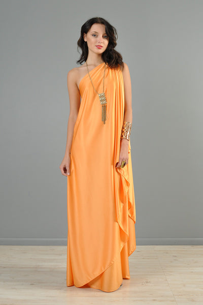 Halston 1970s One-Shouldered Evening Gown
