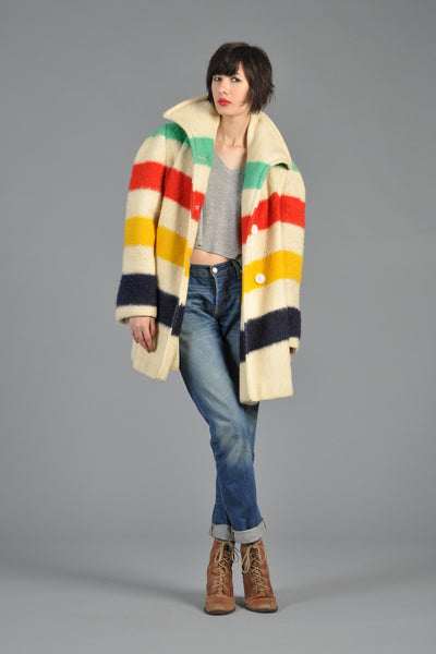 Hudson Bay Striped Hooded Blanket Coat