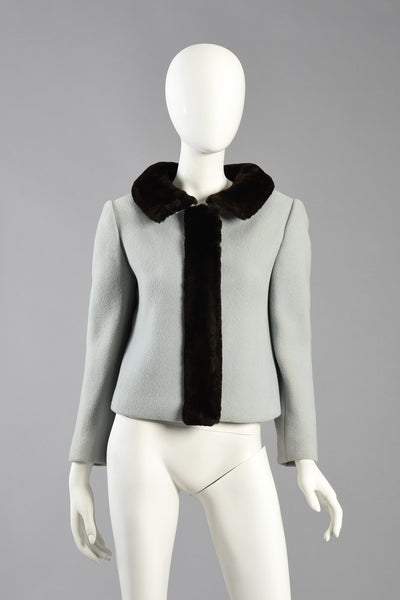 60s Ice Blue Cropped Wool Jacket w/Beaver Fur Trim