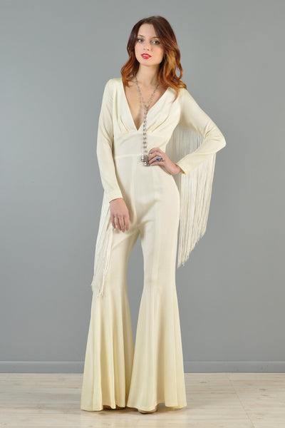 1970s Bell Bottom Fringe Jumpsuit