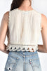 Bonnie 70s Ivory Gauze & Crochet Crop Top