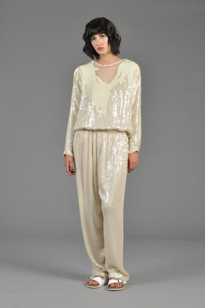 Ivory Sequin Encrusted Draped Silk Jumpsuit