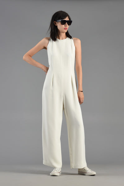 Winter White Minimalist Wide Legged Jumpsuit