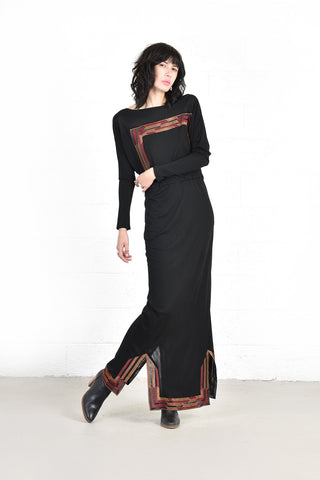 Janice Wainwright Embroidered Deco Maxi Dress