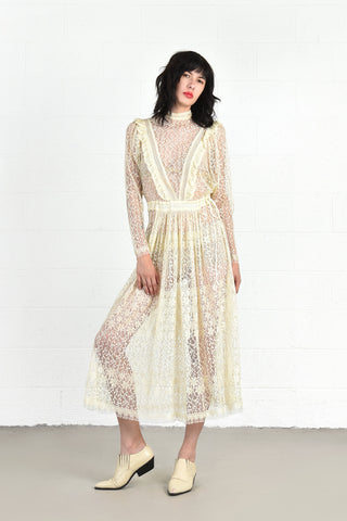 Janice Wainwright 1970s Lace Dress