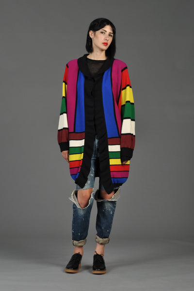 Jean Muir Graphic Rainbow Stripe Knit Cardigan
