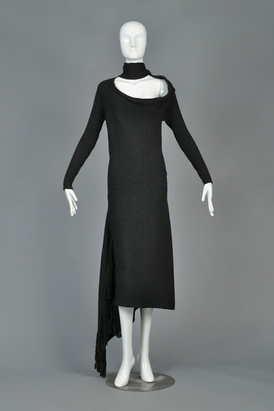 Iconic Jean Paul Gaultier Charcoal Knit Scarf Dress