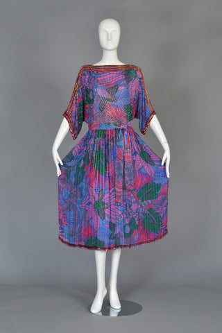 1970s Graphic Beaded Silk Dress w/Kimono Sleeves