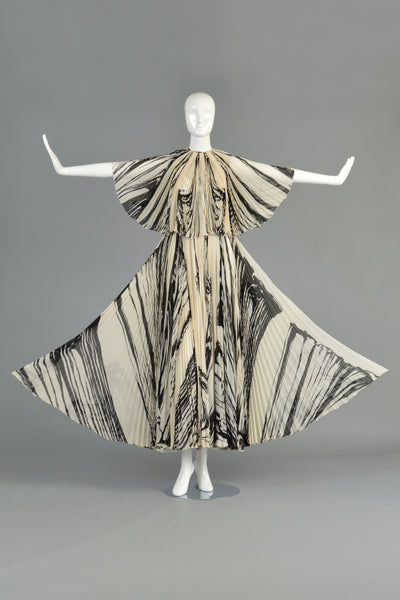 La Mendola 1960s Graphic Pleated Silk Gown + Capelet