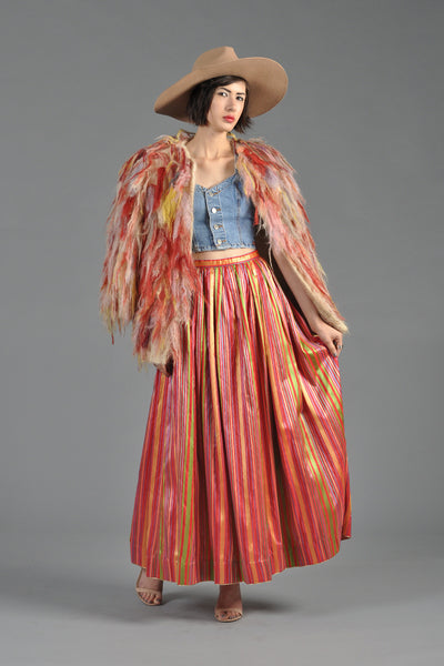 Lanvin 1980s Rainbow Striped Silk Maxi Skirt