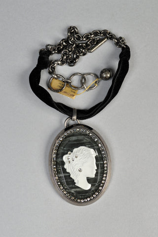Lanvin Rhinestone Studded Lucite Cameo Necklace