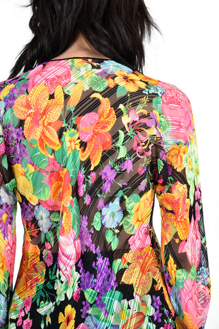 Leonard Paris Attributed Sheer Silk Floral Top