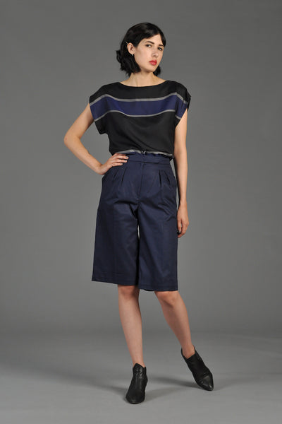 Leonard 1980s Navy Blue High-Waisted Boat Shorts