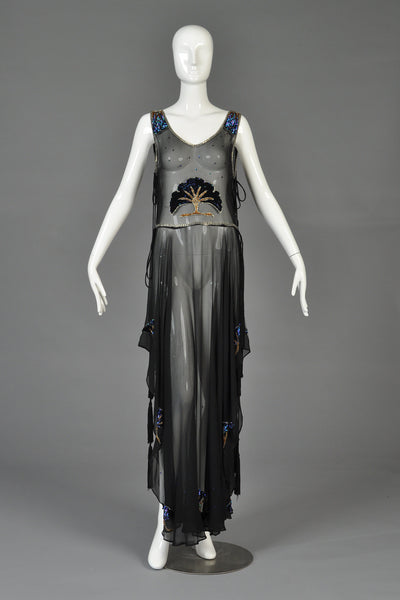 Spectacular 1970s Silk Tabard Dress by Les Lansdown