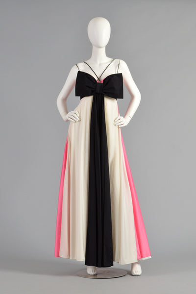 Les Wilk 1970s Colorblock Evening Gown w/Massive Bow