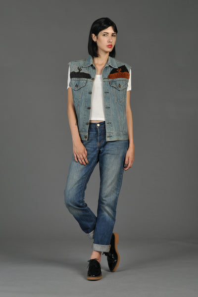 Levi's Denim + Leather 70s Sunset Patchwork Vest