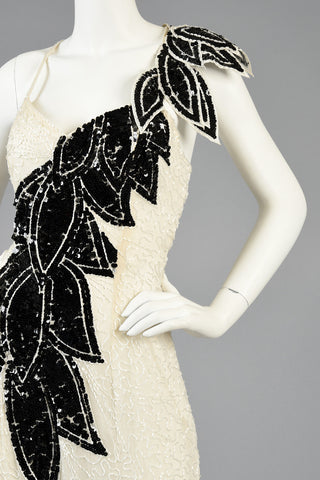 Lillie Rubin B+W Beaded Gown w/Architectural Leaves
