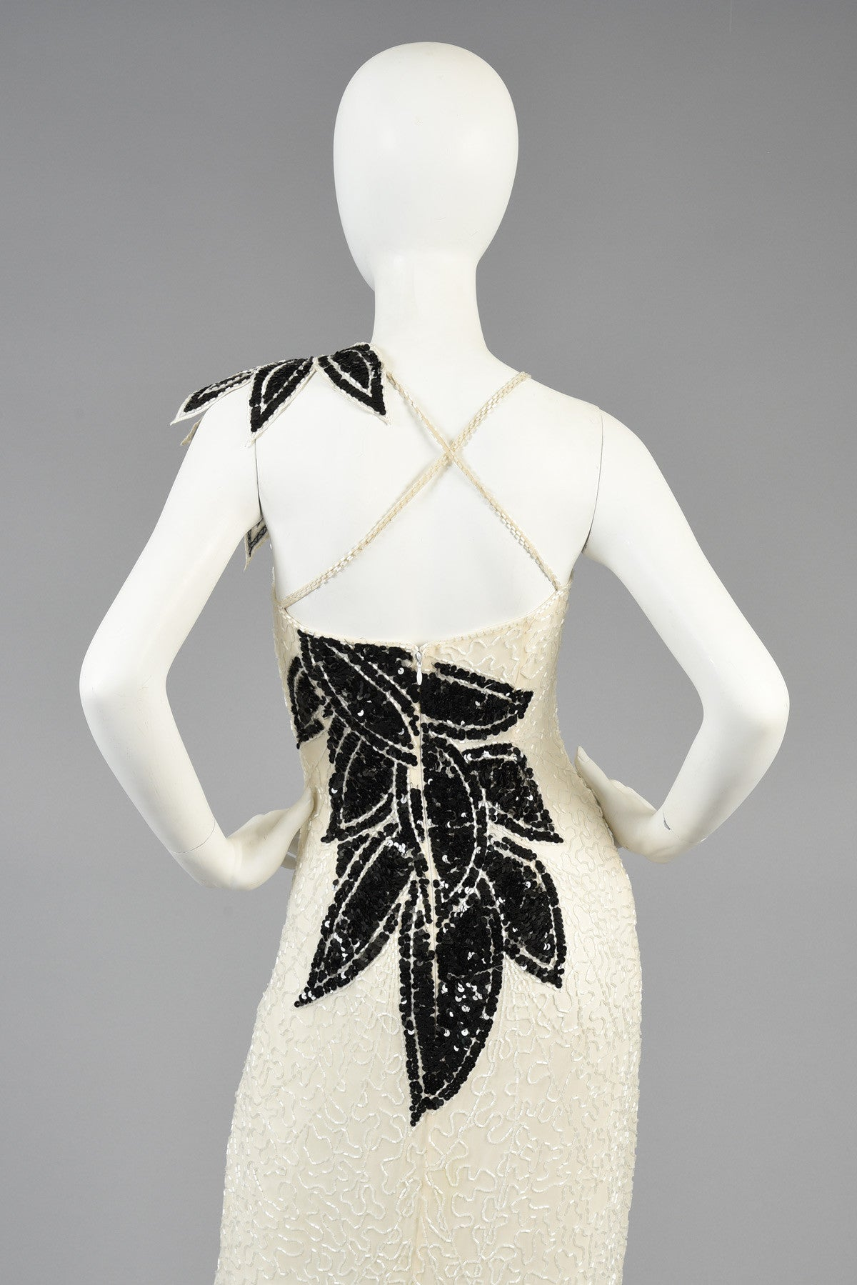 Lillie Rubin B+W Beaded Gown w/Architectural Leaves | BUSTOWN MODERN