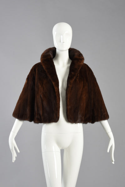 Adorable Cropped Mahogany Mink Fur Bolero Jacket